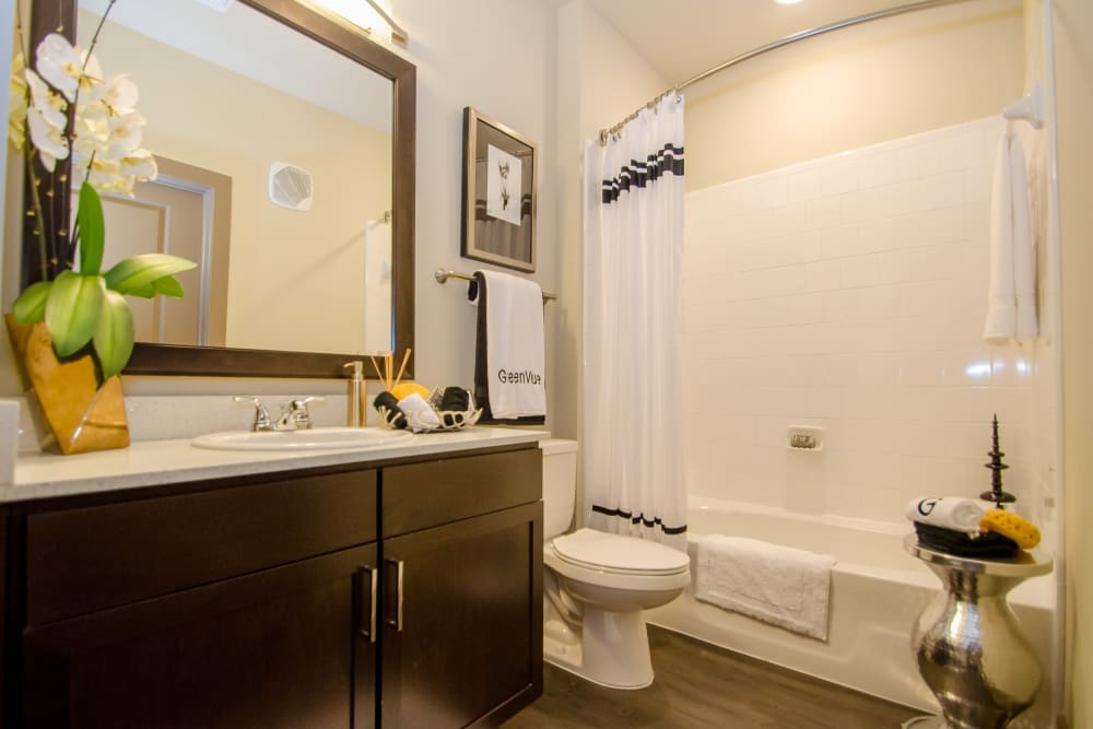Bathroom at GreenVue Apartments in Richardson