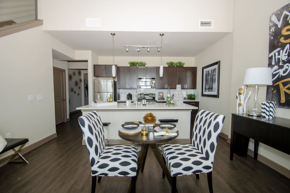 Dining area at GreenVue Apartments in Richardson