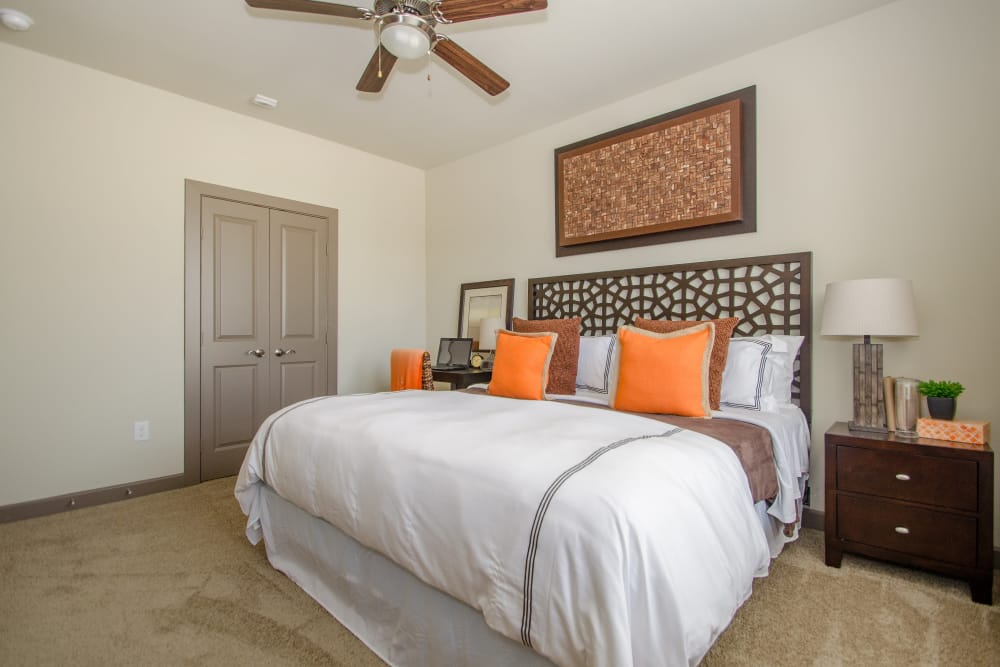 Guest bedroom at GreenVue Apartments in Richardson