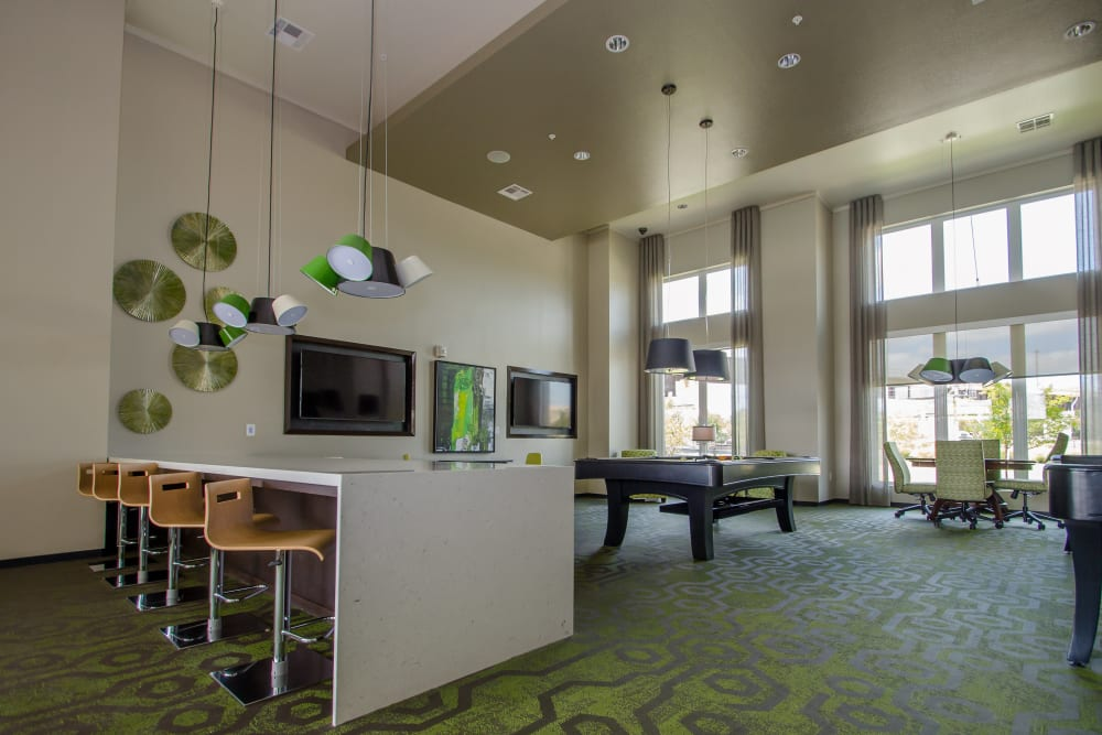 Bar area at GreenVue Apartments in Richardson