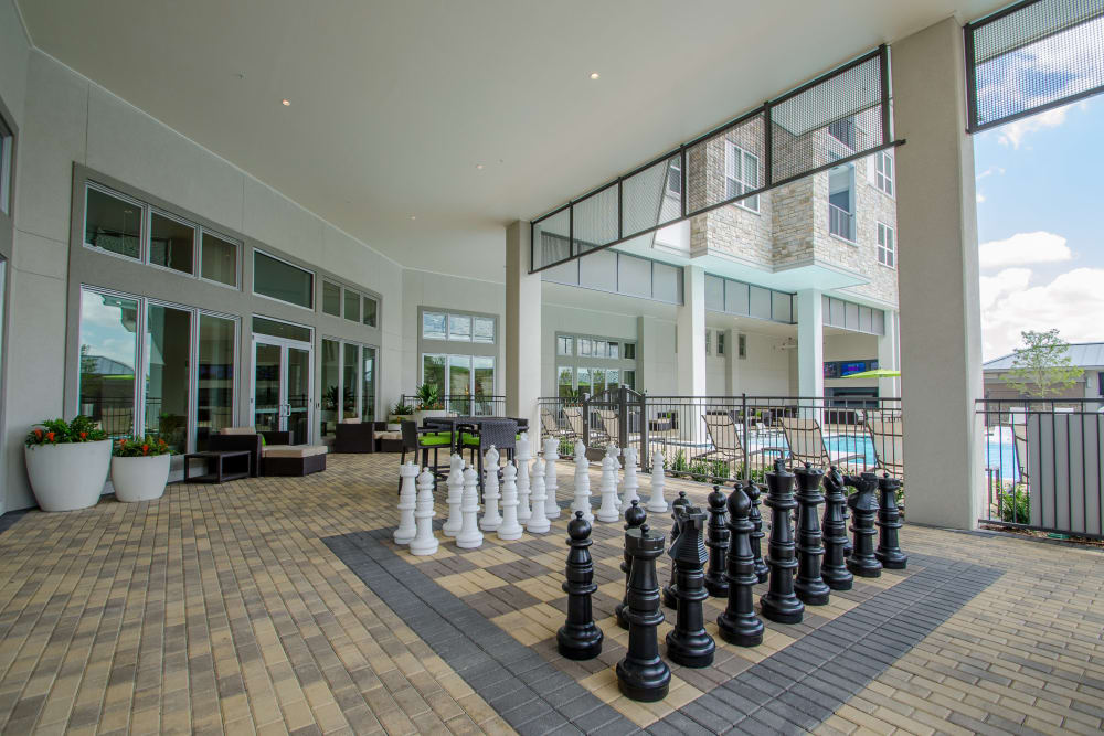 Giant Chess set at GreenVue Apartments in Richardson