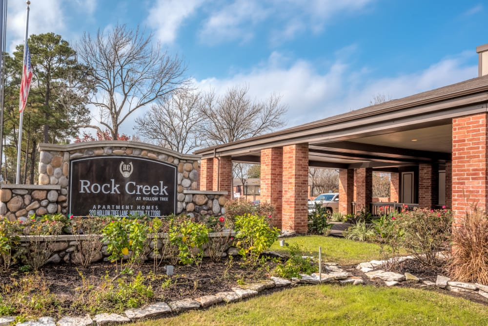 Rock Creek apartments signage in Houston, Texas