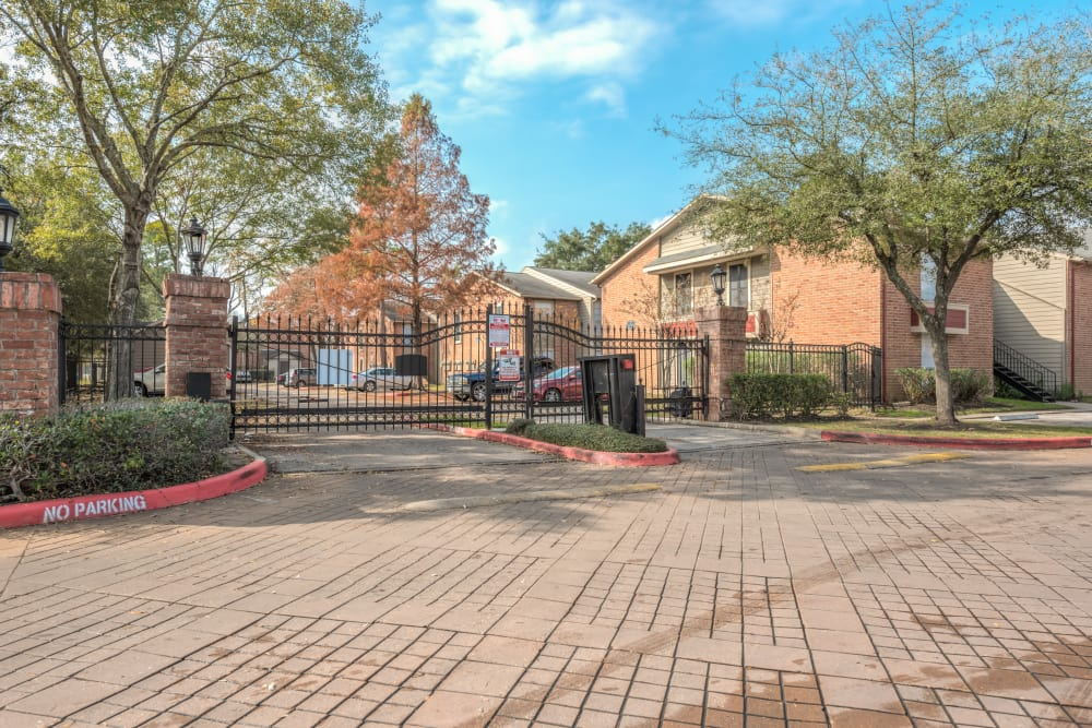 Main entrance of Rock Creek apartments in Houston, Texas