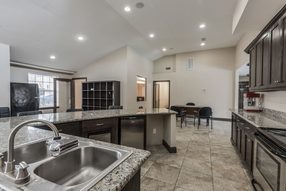 Clubhouse kitchen at Rock Creek apartments in Houston, Texas