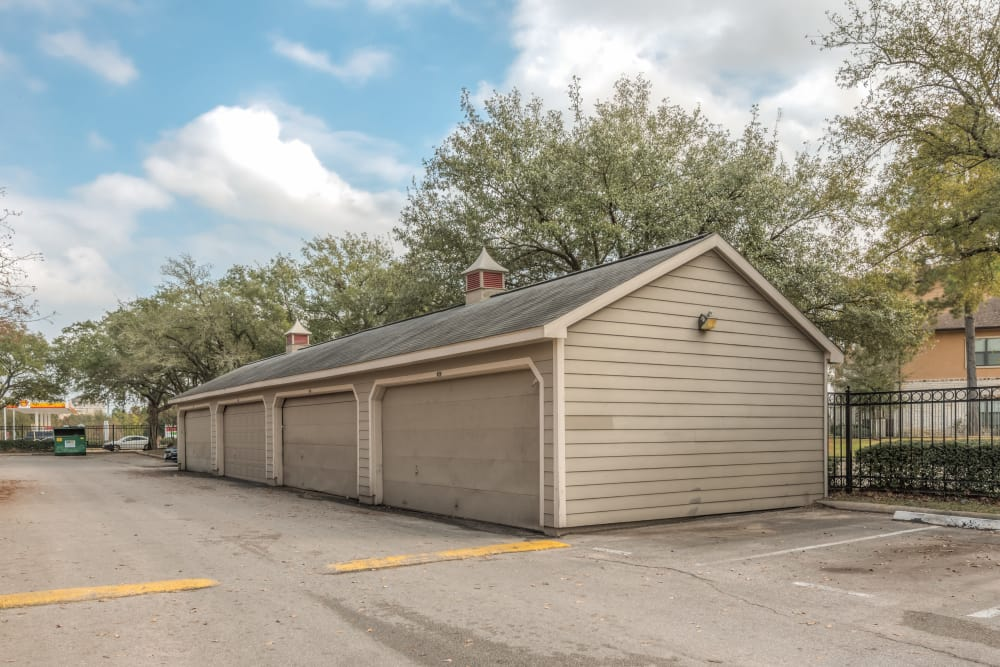 Garages available at Rock Creek apartments in Houston, Texas
