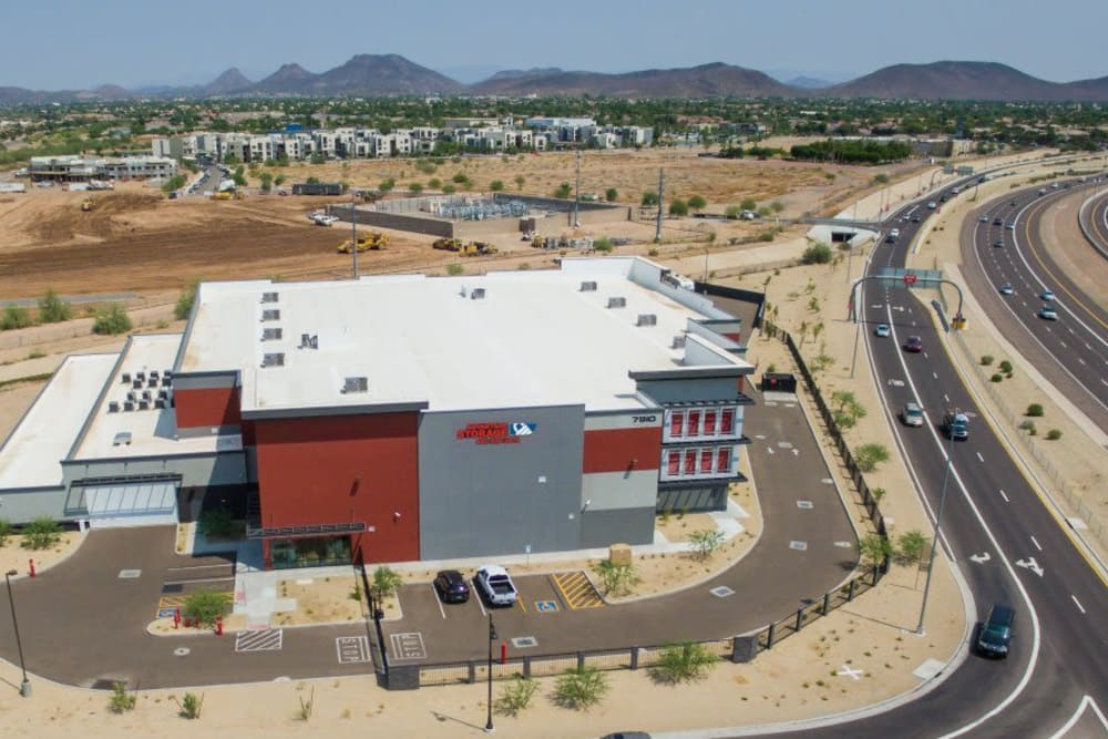 Aerial view of Advantage Storage - Glendale and neighboring highway