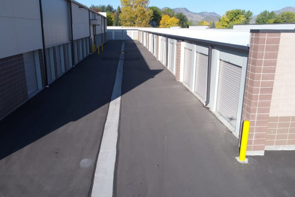 Wide driveways at Littleton Storage