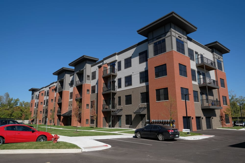 Exterior view of our gorgeous apartment building at at Starkweather Lofts in Plymouth, Michigan
