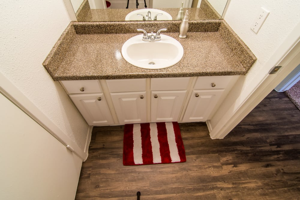Bathroom vanity at Meadowbrook Apartments