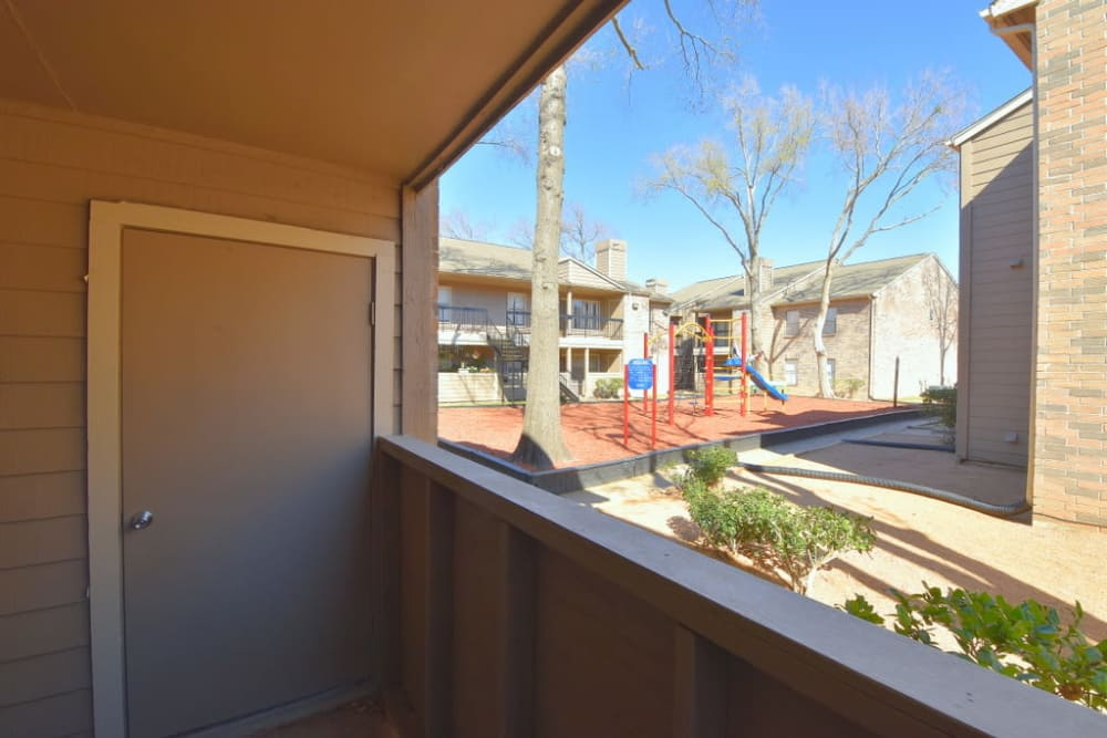 View of the patio at Green Meadows Apartments