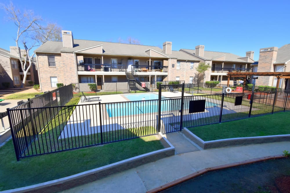 Front view of pool at Green Meadows Apartments