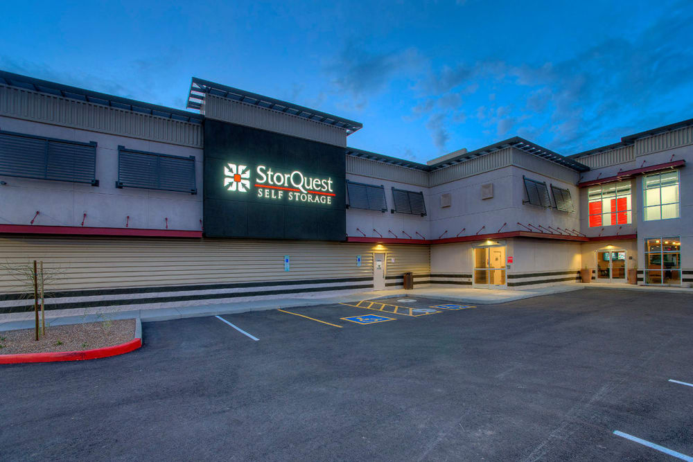 Storage Facility Entrance and Parking Area at StorQuest Self Storage