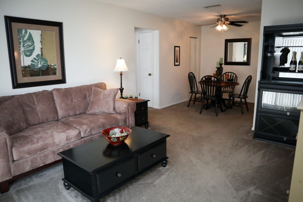Large Living and Dining Area at Village Green Apartments in Evansville, IN