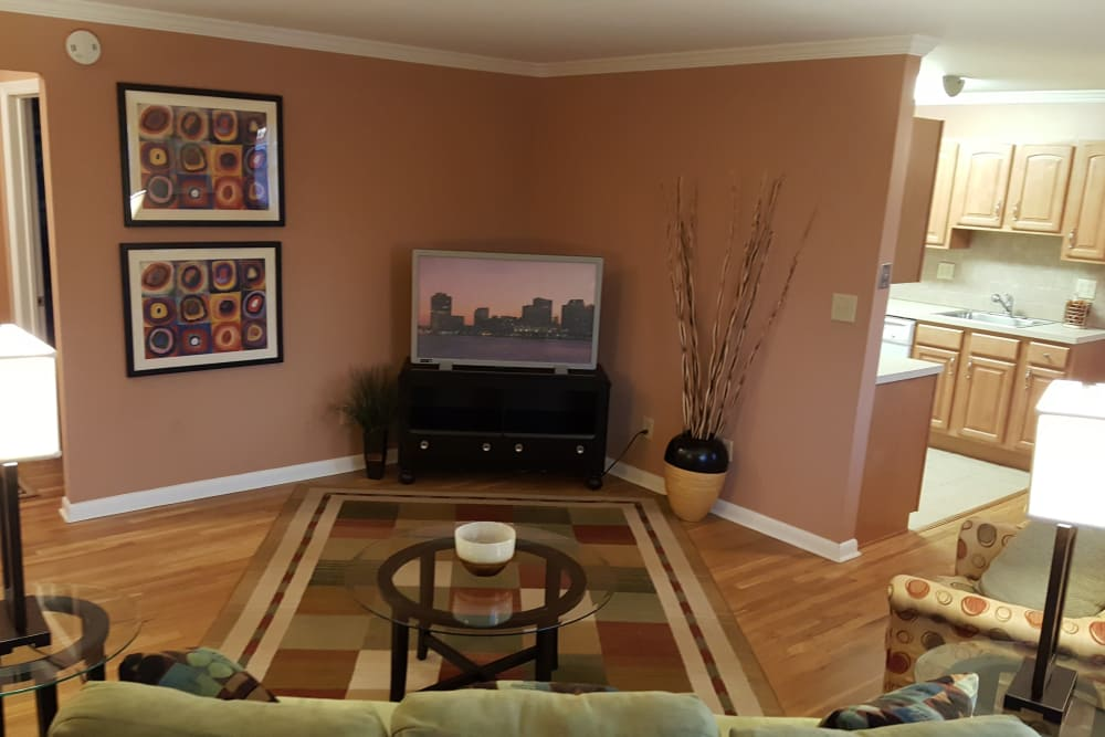 Living room and TV at Wingate Apartments