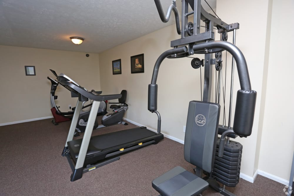 Fitness center at Victoria Gardens Apartments in Louisville