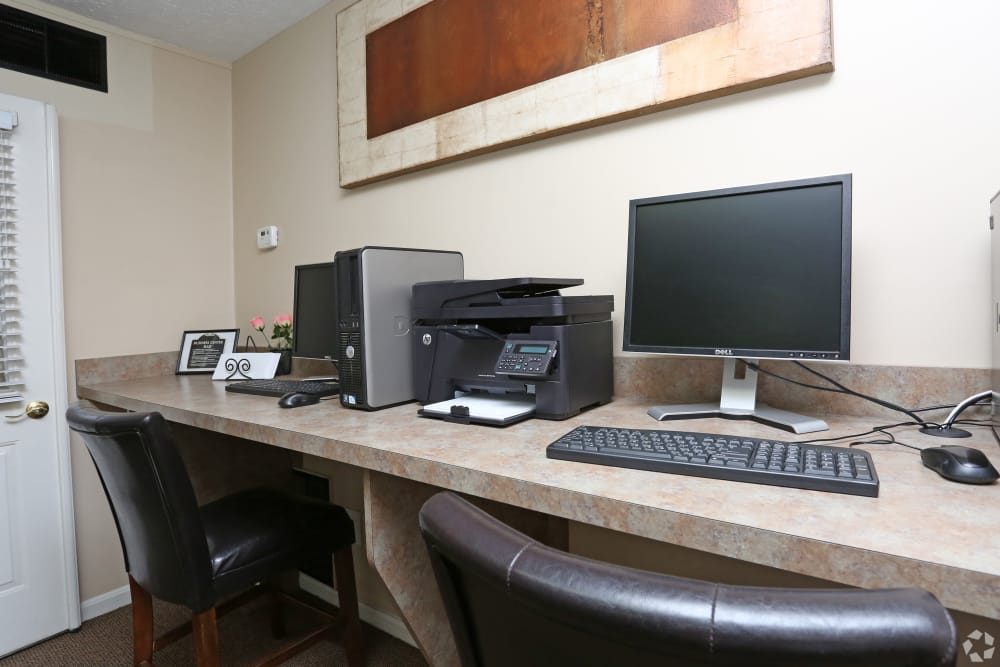 Computers in our business center at Victoria Gardens Apartments in Louisville