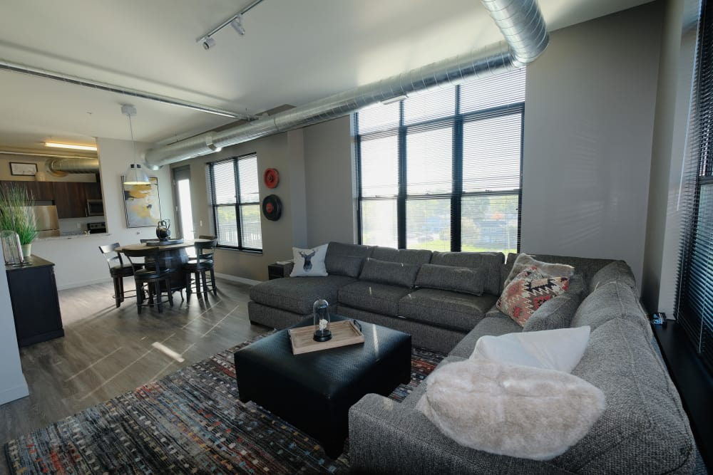 Modern living room at Starkweather Lofts in Plymouth, Michigan