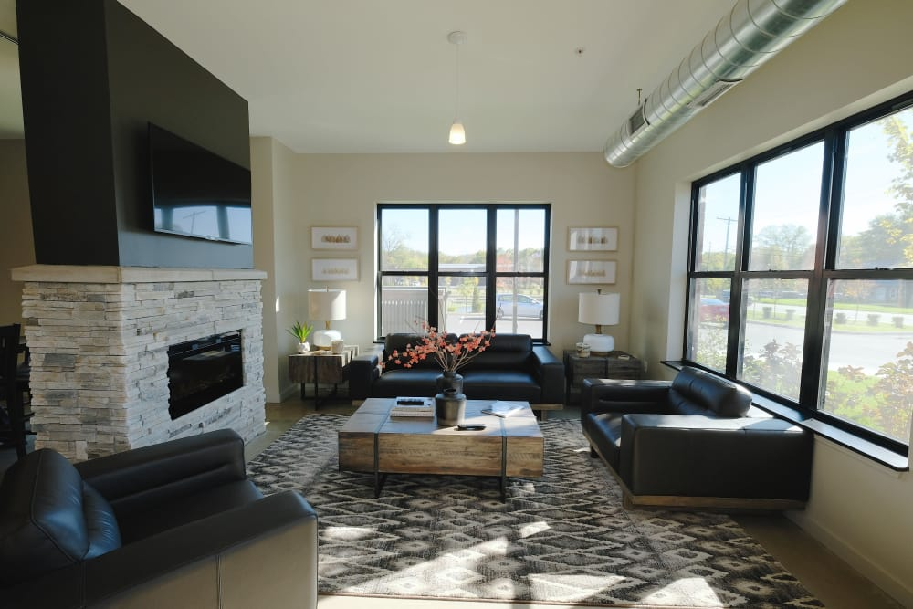 A living room that is great for entertaining at apartments in Plymouth, Michigan