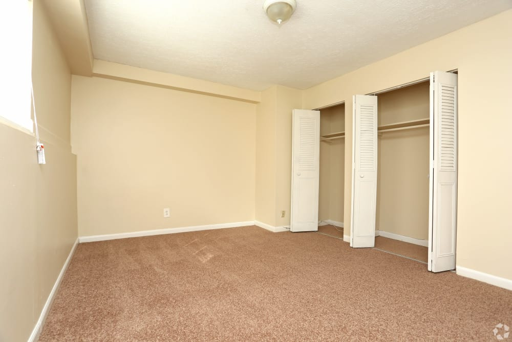 Spacious bedroom with closets at apartments in Jeffersonville, Indiana