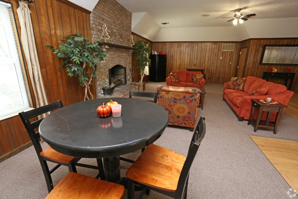 Enjoy relaxing by the fire at King Solomon Apartments in Jeffersonville, Indiana