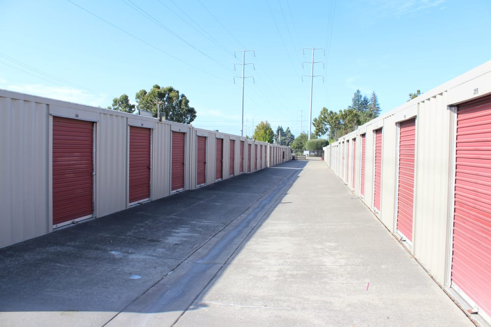Driveway through our self storage facility in San Leandro, CA