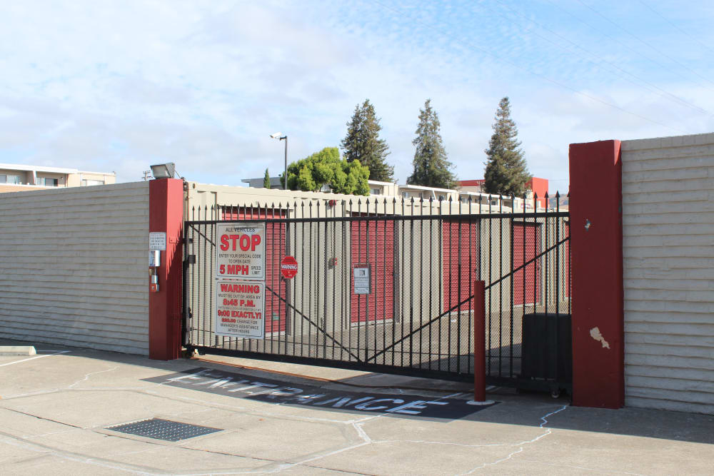 Gated entry at First Rate Storage in San Leandro, CA