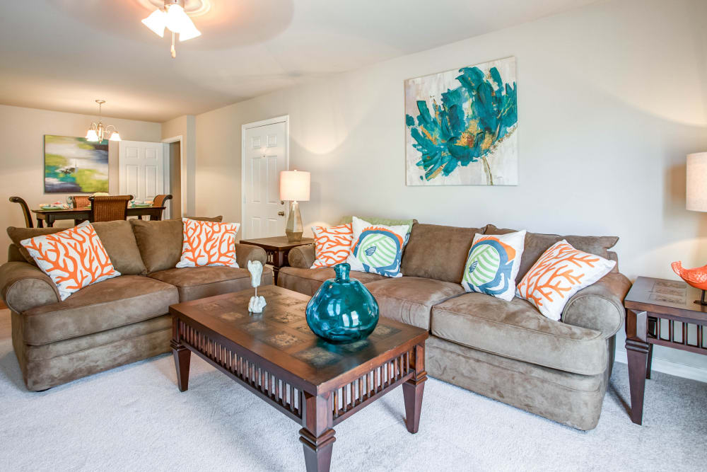 Beautiful living room at apartments at Grand Biscayne in Biloxi, Mississippi