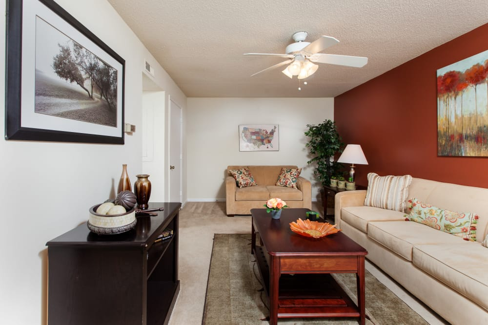 A nicely decorated living room at Cross Creek Cove Apartments & Townhomes in Fayetteville, North Carolina