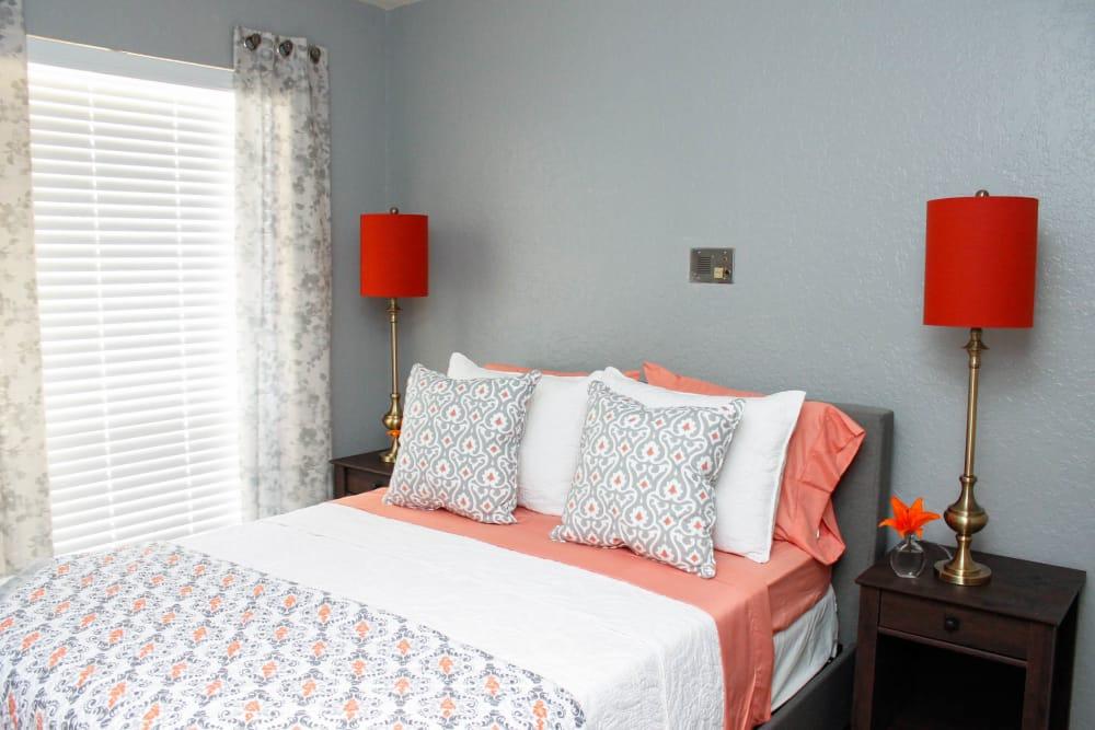 Beautiful master bedroom at Scottsdale Village Square, A Pacifica Senior Living Community in Scottsdale, Arizona
