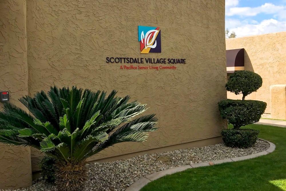 Sign at Scottsdale Village Square, A Pacifica Senior Living Community in Scottsdale, Arizona