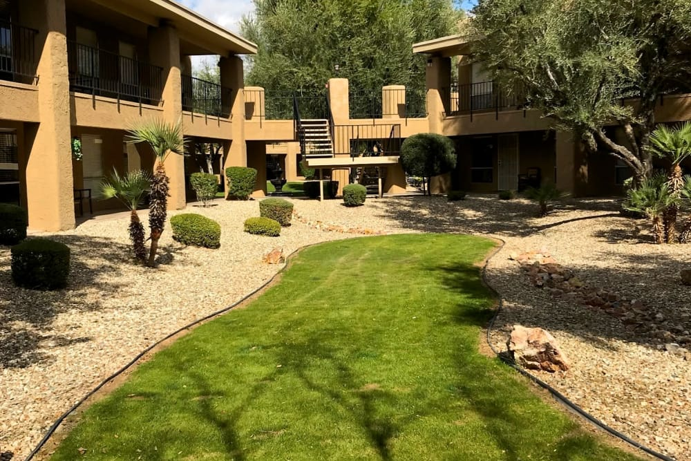 Spacious garden area at Scottsdale Village Square, A Pacifica Senior Living Community in Scottsdale, Arizona