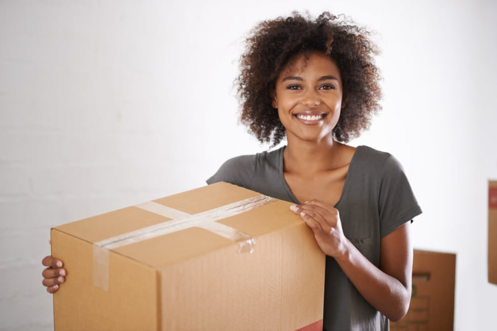Smiling woman at Dominion Self-Storage