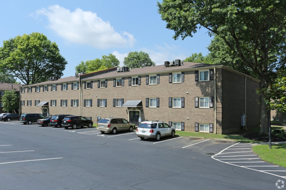 Spacious parking area at Iroquois Garden Apartments in Louisville, Kentucky