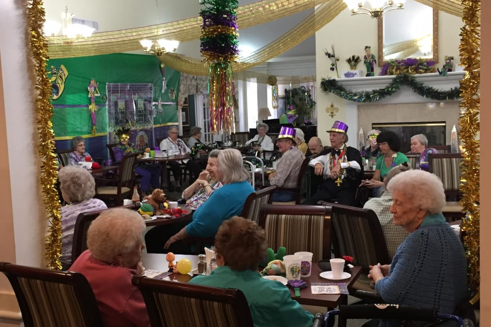 Mardi gras celebration at Azalea Estates of New Iberia