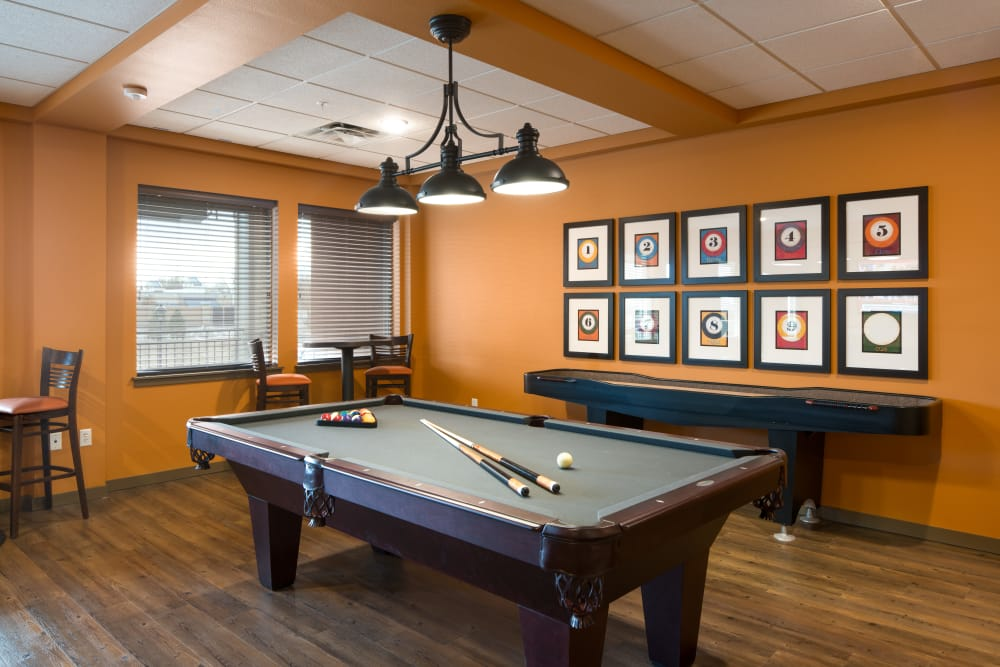 Billiards room at Affinity at Fort Collins