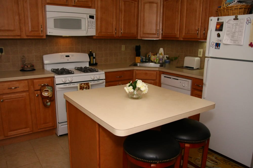 A kitchen island at Center Grove Village