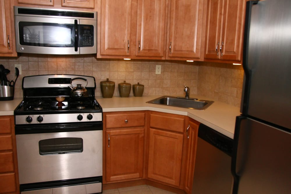 Stainless steel oven and microwave at Center Grove Village