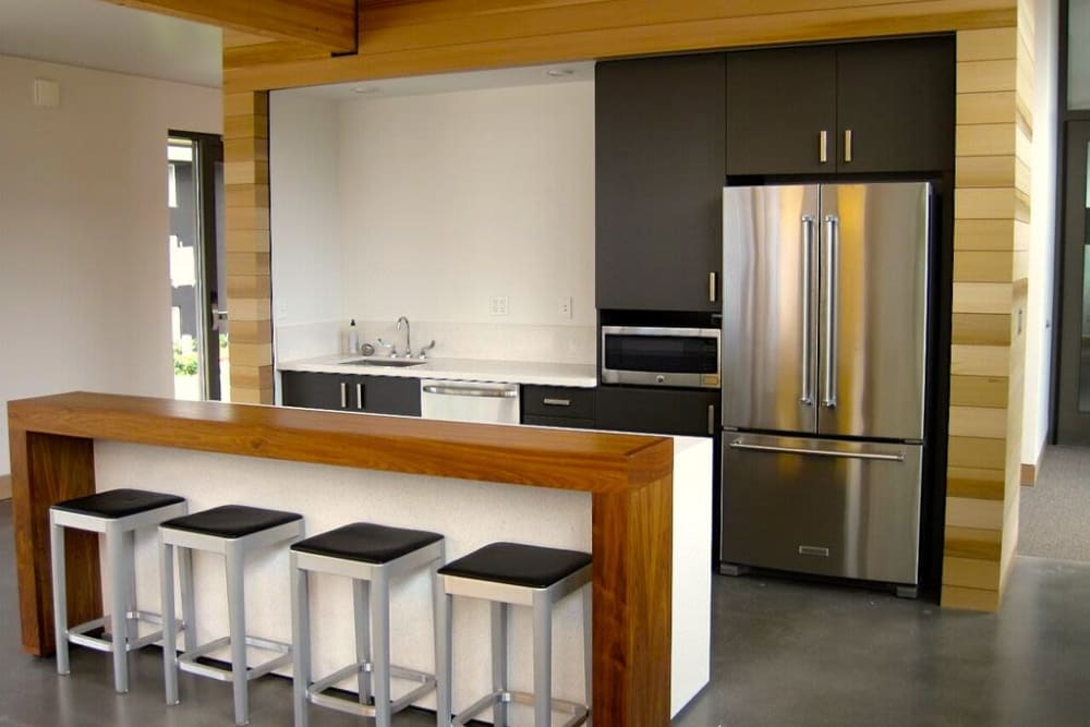 Clubhouse kitchen at Cedar Hills Apartments in Portland, Oregon