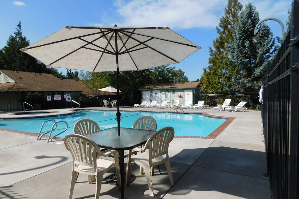 Beautiful swimming pool at apartments in Aloha, Oregon