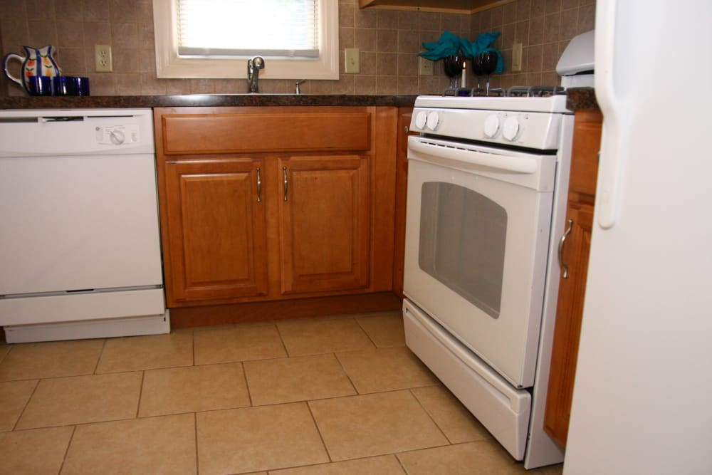Alternative view of the kitchen at Waterway Court Apartments