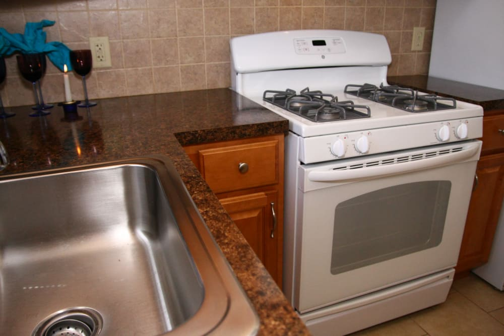 A stainless steel sink and marbled countertops at Waterway Court Apartments