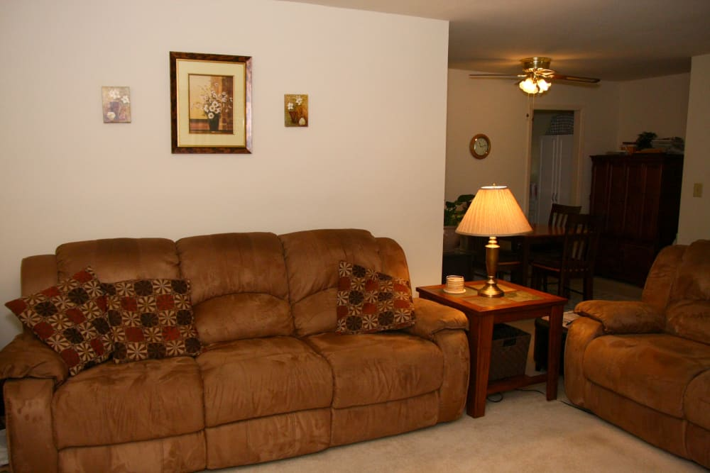 A brown sofa in a living room at Waterway Court Apartments