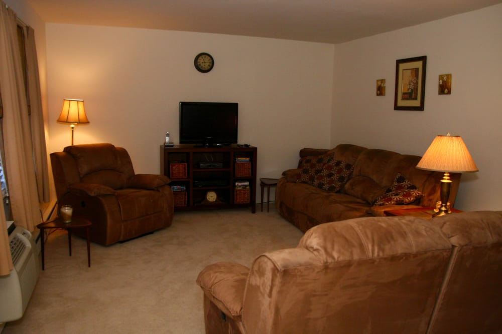 Living Room at Waterway Court Apartments