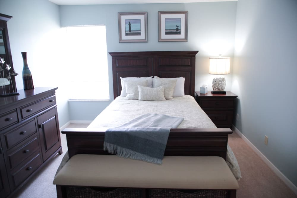 A model bedroom at Lime Tree Village