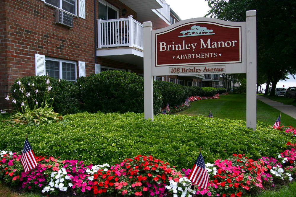 Brinley Manor apartments sign in Bradley Beach, New Jersey