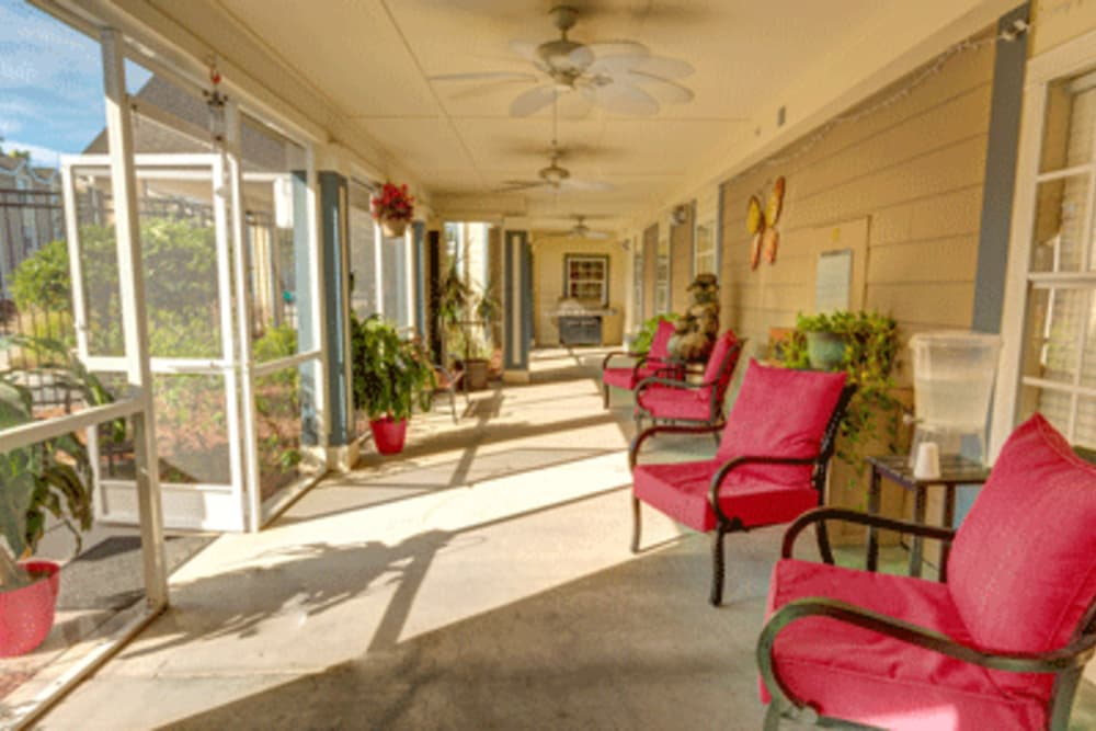Patio at The Villas at Sunset Bay in New Port Richey, Florida.