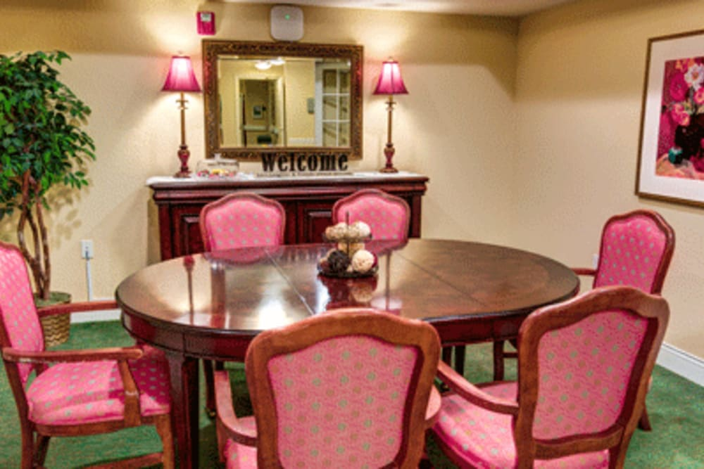 Private dining area at The Villas at Sunset Bay in New Port Richey, Florida.