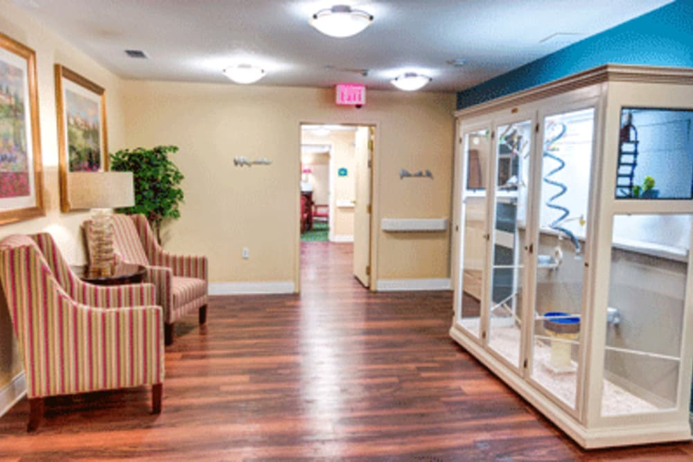 Waiting area at The Villas at Sunset Bay in New Port Richey, Florida.