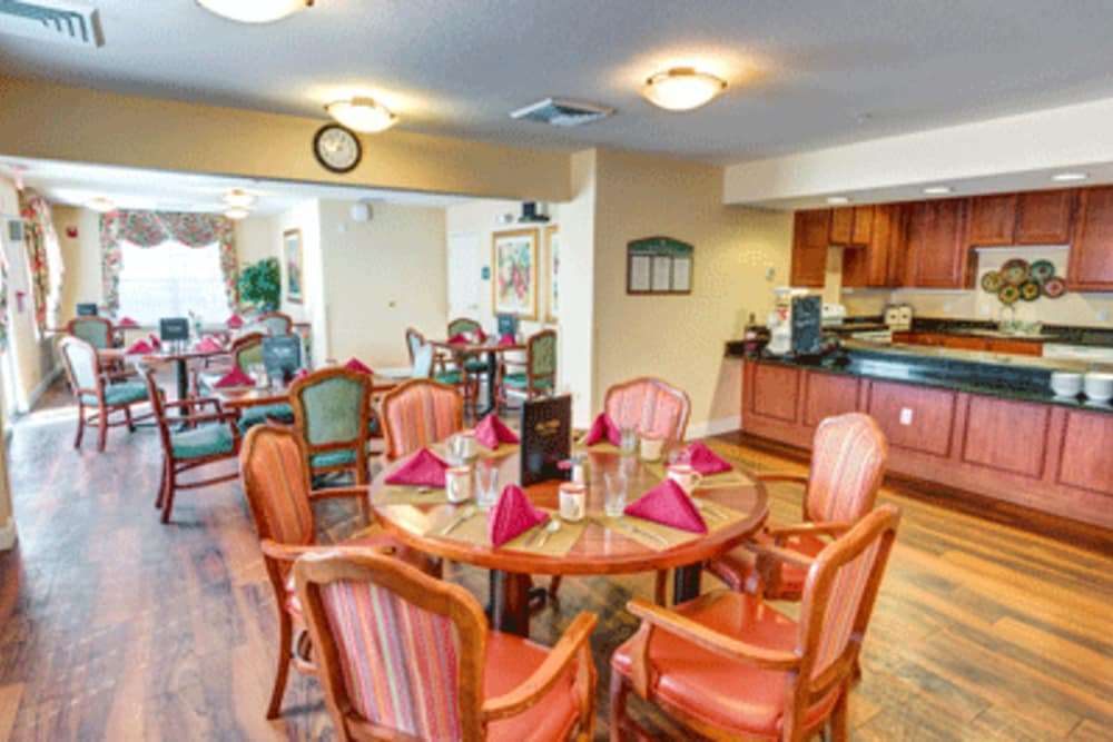 Dining area at The Villas at Sunset Bay in New Port Richey, Florida.