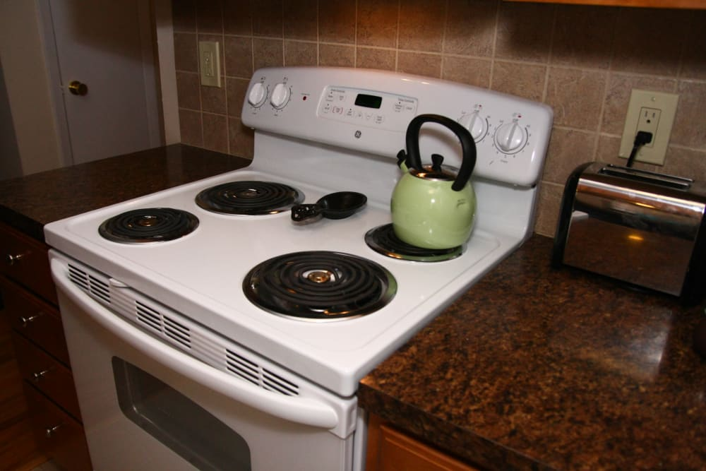 Electric oven and nice counter tops at Ocean Harbor Apartments